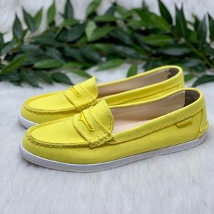 Cole Haan Yellow Canvas Nautical Penny Loafer 10